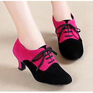 billige Moderne sko-Dame Moderne sko Nubuck Skinn Høye hæler Stiletthæl Dansesko Svart / Fuksia / Svart / Rød / Ytelse / Trening