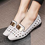baratos Sapatos Femininos-Mulheres Sapatos Pele Verão Conforto Mocassins e Slip-Ons Salto Baixo Amarelo / Cinzento Claro