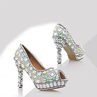 baratos Sapatos Femininos-Mulheres Sapatos Couro Envernizado Primavera Verão Plataforma Básica Saltos Salto Agulha Peep Toe Pedrarias Branco