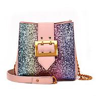 baratos Bolsas de Ombro-Mulheres Bolsas PU Leather Bolsa de Ombro Lantejoulas / Botões Preto / Rosa