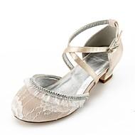 baratos Sapatos de Menina-Para Meninas Sapatos Renda Primavera / Outono Conforto / Bailarina / Tira no Tornozelo Saltos Pedrarias / Presilha / Rendado para Infantil