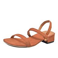 baratos Sapatos Femininos-Mulheres Sapatos Tecido Verão Conforto / Gladiador Sandálias Salto Baixo Dedo Aberto Preto / Amarelo / Marron