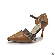 baratos Sapatos Femininos-Mulheres Sapatos Couro Ecológico Verão Conforto Saltos Salto Agulha Preto / Bege / Castanho Escuro