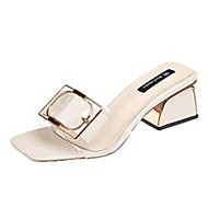 cheap -Women's PU(Polyurethane) Summer Comfort Slippers & Flip-Flops Chunky Heel Beige / Yellow