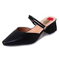 Mujer Zapatos PU Primavera verano Talón Descubierto Zuecos y pantuflas Tacón Bajo Dedo Puntiagudo Hebilla Negro / Beige / Rosa XujhArbxPZ