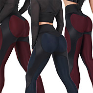 cheap -Women's Patchwork Yoga Pants Royal Blue Burgundy Sports Geometry High Rise Tights Leggings Zumba Running Fitness Activewear Push Up Butt Lift Tummy Control Stretchy Skinny