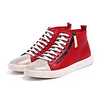 baratos Sapatos Masculinos-Homens Couro Outono / Inverno Conforto Tênis Preto / Vermelho
