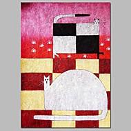 billiga Abstrakta målningar-Hang målad oljemålning HANDMÅLAD - Abstrakt / Tecknat Moderna Duk