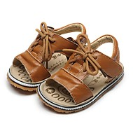 cheap Baby Shoes-Girls' Shoes Leather Summer First Walkers Sandals Magic Tape for Infant Light Brown / Dark Green