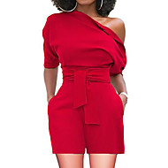 저렴한 -여성용 베이직 원 숄더 루비 옐로우 와인 와이드 레그 롬퍼스, 솔리드 L XL XXL 하이 웨스트 짧은 소매 여름