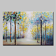 cheap Oil Paintings-Oil Painting Hand Painted - Abstract Floral / Botanical Vintage Traditional Canvas