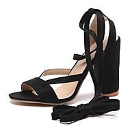 baratos Sapatos Femininos-Mulheres Sapatos Flanelado / Couro Ecológico Verão Chanel / Gladiador Sandálias Caminhada Salto Robusto Dedo Aberto Vermelho / Rosa claro