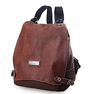 cheap High School Bags-Women's Bags Canvas Backpack Buttons Crocodile Coffee / Dark Brown