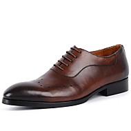 baratos Sapatos Masculinos-Homens Sapatos de vestir Couro Outono Conforto Oxfords Preto / Marron