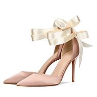 baratos Sapatos Femininos-Mulheres Sapatos Seda Verão / Outono Plataforma Básica Saltos Salto Agulha Dedo Apontado Cadarço de Borracha Preto / Vermelho / Nú