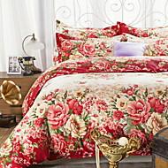 baratos Edredom-Conjunto de Capa de Edredão Floral 100% algodão Poliéster Impressão Reactiva 4 Peças