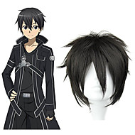SAO Alicization Kirito Men's 12 inch Heat Resistant Fiber Black Anime Cosplay Wigs