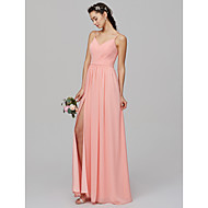 cheap -A-Line Spaghetti Strap Floor Length Chiffon Bridesmaid Dress with Split Front / Criss Cross by LAN TING BRIDE®