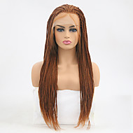 Synthetic Lace Front Wig Straight Style Braid Lace Front Wig Brown Medium Auburn Synthetic Hair Women's Heat Resistant Brown Wig Long Natural Wigs / Yes