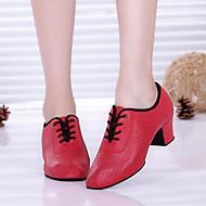 billige Moderne sko-Dame Moderne sko Syntetisk Mikrofiber PU Oxford / Høye hæler Tykk hæl Dansesko Svart / Rød / Ytelse / Trening