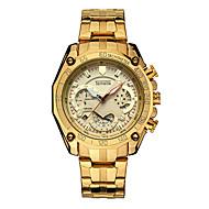 Муж. Спортивные часы Часы со скелетом Кварцевый Нержавеющая сталь Черный / Серебристый металл / Золотистый Календарь Хронометр Аналоговый Роскошь Cool -