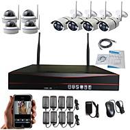 """Χαμηλού Κόστους Ασύρματο Σύστημα CCTV-ισχυρό 8 """"wifi nvr με ισχυρή τεχνολογία 1.3 megapixel ασύρματη κάμερα ip (4pcs camera weatherproof bullet & 4pcs θόλος κάμερα) CCTV κάμερα σύστημα"""