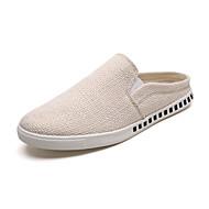 baratos Sapatos Masculinos-Homens Linho Outono Conforto Tamancos e Mules Caminhada Preto / Bege / Vermelho