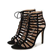 baratos Sapatos Femininos-Mulheres Sapatos Flocagem Primavera Verão Gladiador Sandálias Salto Agulha Preto / Festas & Noite / Festas & Noite