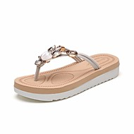Pentru femei EVA Vară Confortabili Papuci & Flip-flops Toc Drept Negru / Bej / Fucsia
