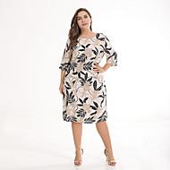 Dame Plusstørrelser I-byen-tøj Vintage Basale Tynd A-linje Skede Kjole - Geometrisk, Trykt mønster Knælang Tropisk blad