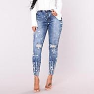 女性用 ベーシック ストリートファッション スーツ ジーンズ パンツ ソリッド