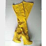 baratos Sapatos Femininos-Mulheres Sapatos Couro Ecológico Outono & inverno Inovador / Botas da Moda Botas Salto Plataforma Ponta Redonda Botas Acima do Joelho