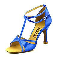 baratos Sapatilhas de Dança-Mulheres Sapatos de Dança Latina / Sapatos de Salsa Cetim Sandália / Salto Presilha / Cadarço de Borracha Salto Personalizado Personalizável Sapatos de Dança Bronze / Amêndoa / Nú / Couro
