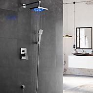billige Rabatt Kraner-Dusjkran - Moderne Krom Vægmonteret Keramisk Ventil Bath Shower Mixer Taps / Messing / Enkelt håndtak fire hull
