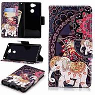hoesje Voor Sony Xperia XA2 / Xperia L2 Portemonnee / Kaarthouder / met standaard Volledig hoesje Olifant Hard PU-nahka voor Xperia XA2 / Xperia L2