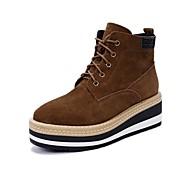 baratos 12.10 Liquidação-Mulheres Sapatos Couro Outono & inverno Conforto Botas Sem Salto Botas Curtas / Ankle Preto / Khaki