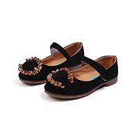 baratos Sapatos de Menina-Para Meninas Sapatos Flocagem Primavera Verão Conforto Rasos Caminhada Pedrarias / Presilha / Velcro para Infantil Rosa claro / Khaki /