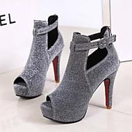 baratos Sapatos Femininos-Mulheres Couro Ecológico Primavera Conforto Saltos Salto Agulha Preto / Prata