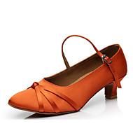 billige Moderne sko-Dame Moderne sko Sateng Høye hæler Tykk hæl Dansesko Svart / Oransje / kaffe
