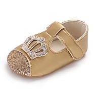baratos Sapatos de Menina-Para Meninas Sapatos Couro Ecológico Primavera & Outono Conforto / Primeiros Passos / Sapatos de Berço Rasos Pedrarias / Velcro para Bebê Cinzento Escuro / Vermelho / Rosa claro / Casamento