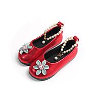 baratos Sapatos de Menina-Para Meninas Sapatos Couro Ecológico Primavera Verão Conforto / Sapatos para Daminhas de Honra Rasos Caminhada Pérolas / Flor para Adolescente Preto / Vermelho / Rosa claro