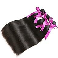 3 Bundler Peruviansk hår Lige Menneskehår Menneskehår, Bølget / Udvidelse / Bundle Hair 8-28 inch Sort Naturlig Farve Menneskehår Vævninger Maskinproduceret Klassisk / Bedste kvalitet / Til sorte
