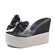 baratos Sapatos Femininos-Mulheres Sapatos Couro Ecológico Verão Chanel Sandálias Caminhada Salto Plataforma Dedo Aberto Laço / Lantejoulas Dourado / Preto / Prata