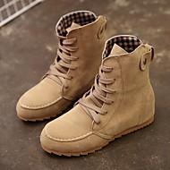 baratos Sapatos Femininos-Mulheres Camurça Inverno Conforto Botas Sem Salto Verde / Rosa claro / Khaki