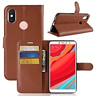 billiga Mobil cases & Skärmskydd-fodral Till Xiaomi Redmi S2 / Mi 8 Plånbok / Korthållare / Lucka Fodral Enfärgad Hårt PU läder för Redmi Note 5A / Xiaomi Redmi Note 5 Pro / Xiaomi Redmi Note 5 / Xiaomi Redmi Note 4X / Xiaomi Mi 6
