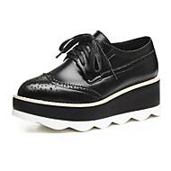 baratos Sapatos Femininos-Mulheres Sapatos Pele Primavera Verão Conforto Oxfords Sem Salto Ponta Redonda Preto