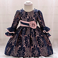Vauva Tyttöjen Vintage Bile / Syntymäpäivä Yhtenäinen 3/4 hiha Polvipituinen Puuvilla / Polyesteri Mekko Laivaston sininen