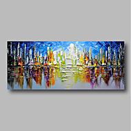 billiga Landskapsmålningar-Hang målad oljemålning HANDMÅLAD - Abstrakt / Landskap Samtida Inkludera innerram / Sträckt kanfas