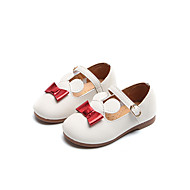 baratos Sapatos de Menina-Para Meninas Sapatos Couro Ecológico Primavera & Outono Sapatos para Daminhas de Honra Rasos Caminhada Presilha para Infantil Branco / Amarelo / Rosa claro
