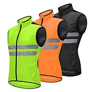 WOSAWE Herre Uden ærmer Cykelvest - Grøn Sort Orange Helfarve Cykel Vest Vind Jakker Trøje Vindtæt Refleksbånd Tilbage til lomme Sport Polyster Bjerg Cykling Vej Cykling Tøj